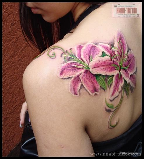 Pink Ink Lily Flowers Tattoo On Back