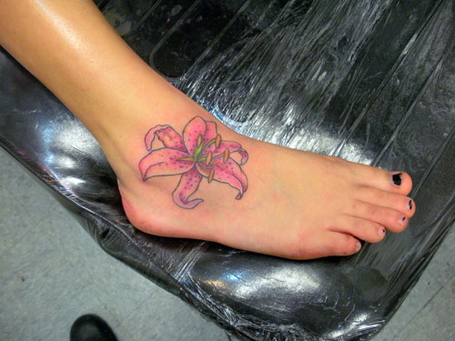 Pink Lily Flower Tattoo On Right Foot