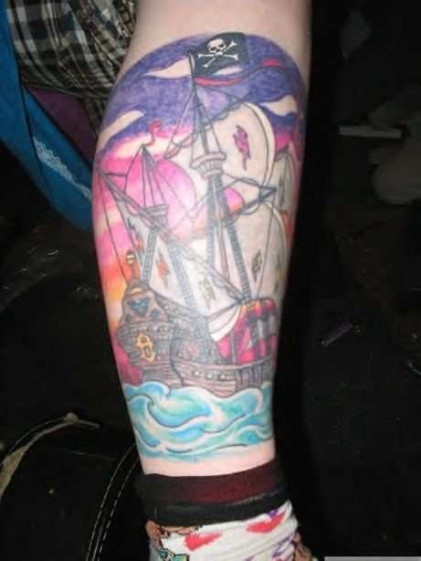 Pirate Ship Leg Tattoo Design