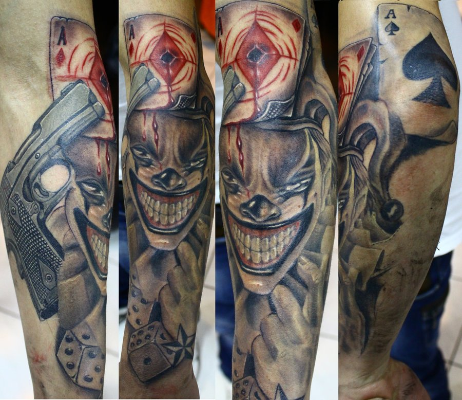Playing Card Gun Joker Tattoo Design