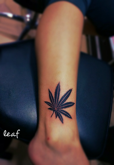 Pot Leaf Tattoo For Girls Pot leaf tattoo on ankle for