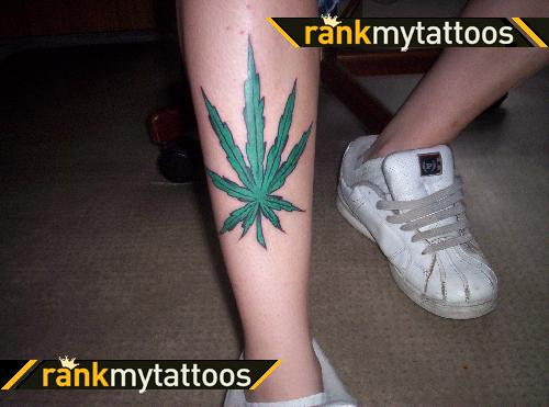Pot Leaf Tattoo On Leg