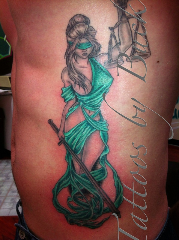 Pretty Lady Justice Tattoo On Rib Side