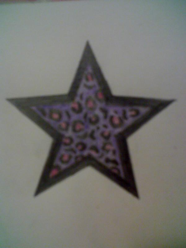 Purple Leopard Print Star Tattoo Design