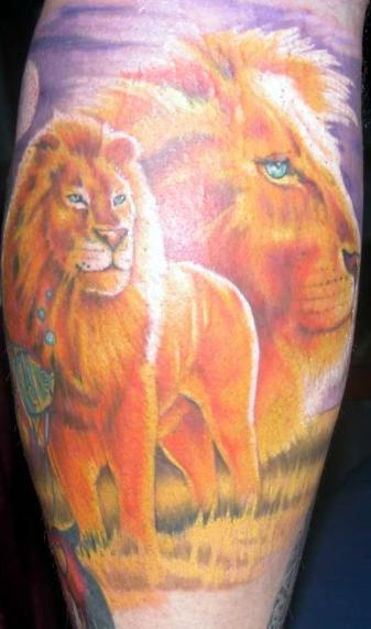Realistic Forest Lion Tattoo Design