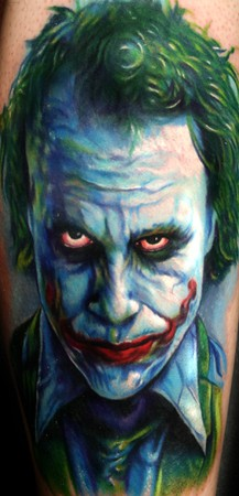 Realistic Joker Batman Tattoo Design