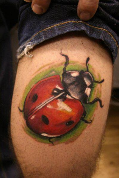 Realistic Ladybug Tattoo On Thigh