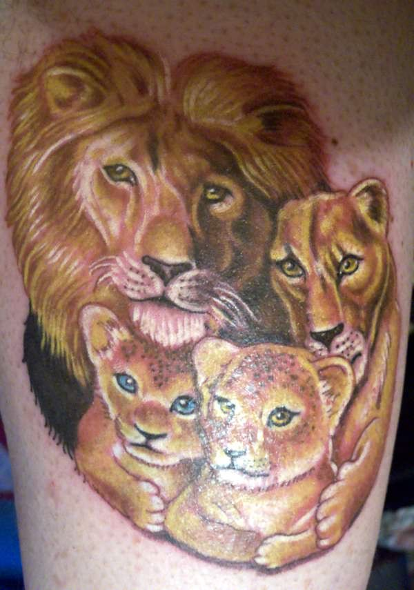 Realistic Lion And Cubs Tattoo Design