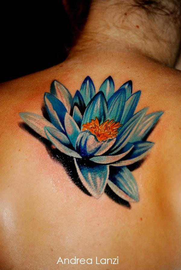 3D Lotus Flower Tattoo On Upper Back