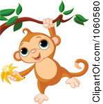A Cute Monkey Hanging From A Branch With A Banana In Hand Tattoo Design