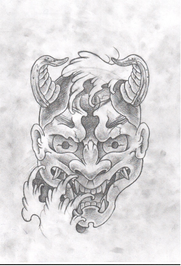Again Hannya Mask Tattoo Sketch