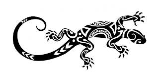 Again Maori Lizard Tattoo Stencil