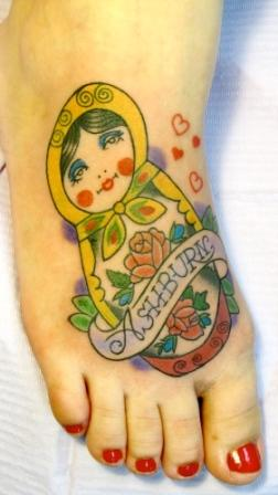 Amazing Matryoshka Tattoo On Foot