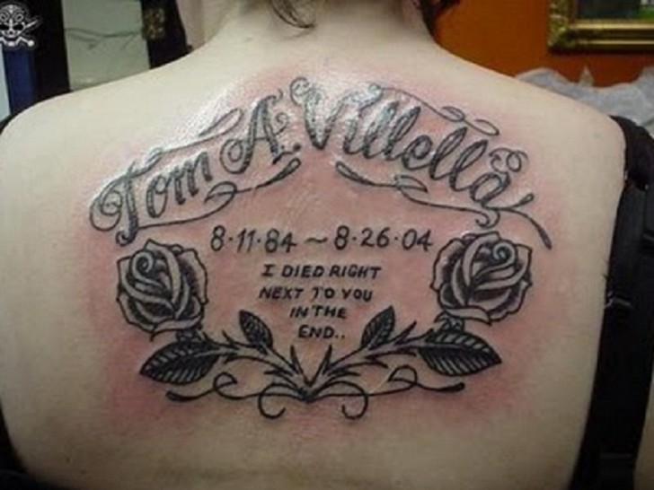 Amazing Memorial Tattoo On Back