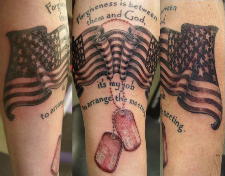 American Flag And Military Dog Tags Tattoo Designs