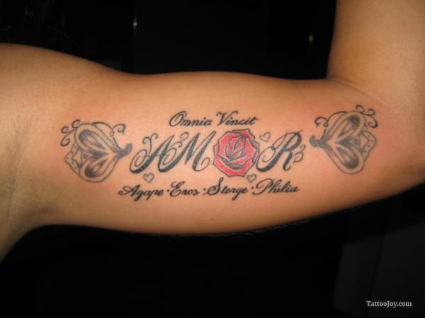Amor Love Tattoo On Inner Arm
