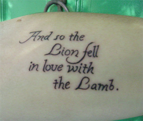 And So The Lion Fell In Love With The Lamb Literary Tattoo Design