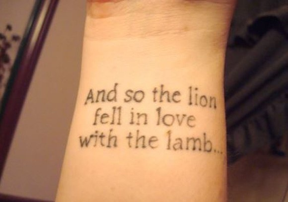 And So The Lion Fell In Love With The Lamb Literary Tattoo On Wrist