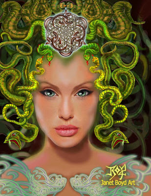 Angelina Jolie Medusa Tattoo Design