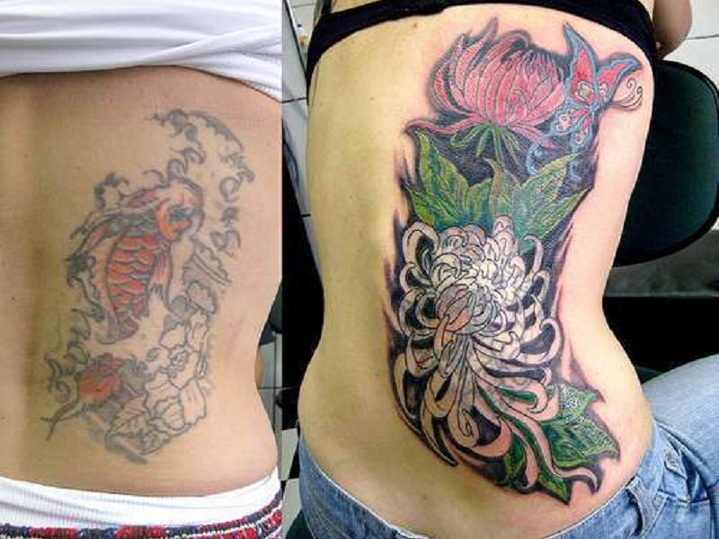 Awesome Fish Angelic Lotus Tattoo Coverups Design