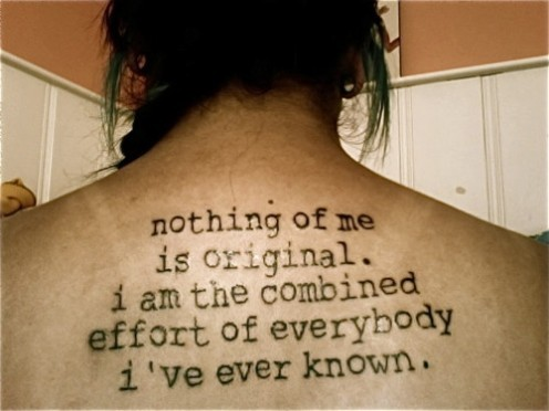 Awesome Literary Tattoo On Upper Back