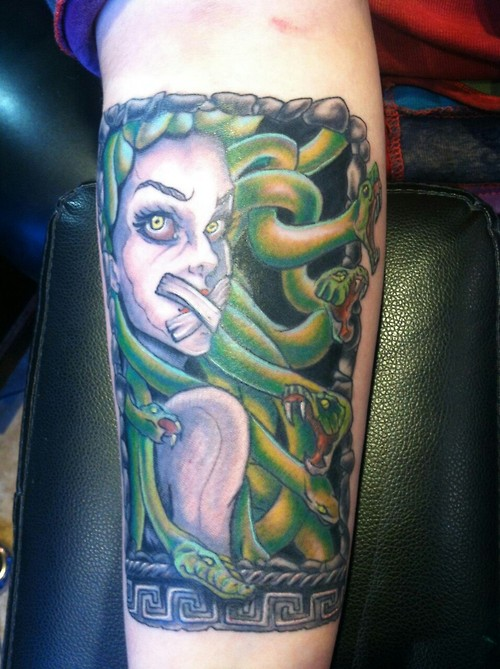 Bandage Mouth Medusa Tattoo Design