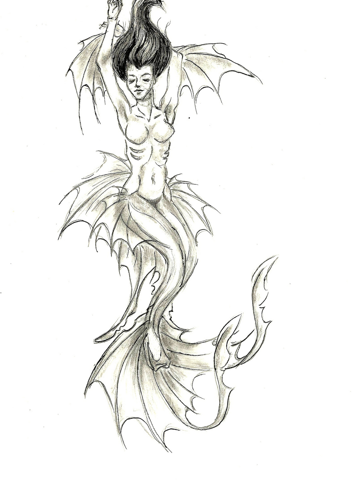 Bat Winged Mermaid Tattoo Sample