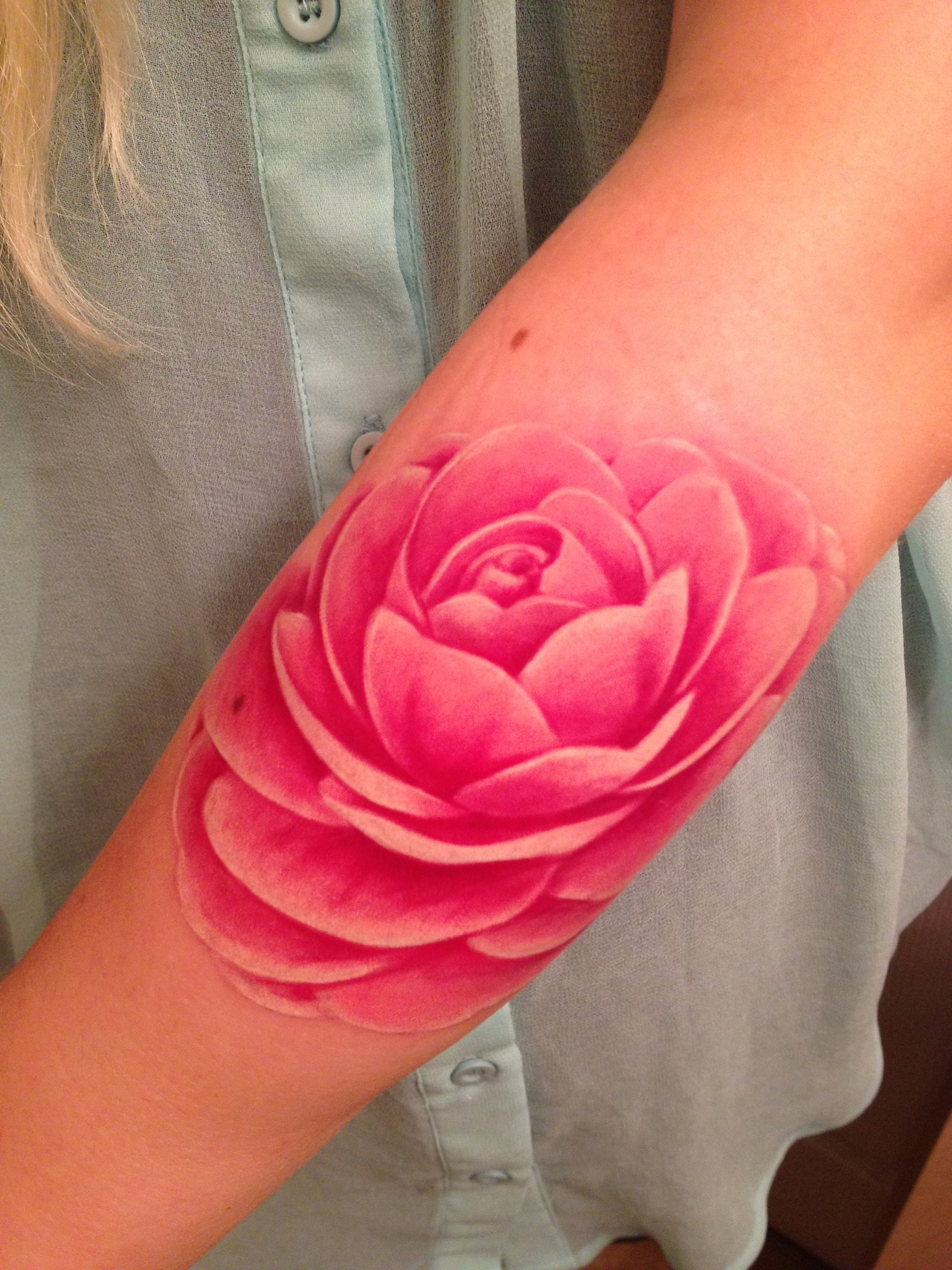 Beautiful Lotus Flower Tattoo On Arm For Girls