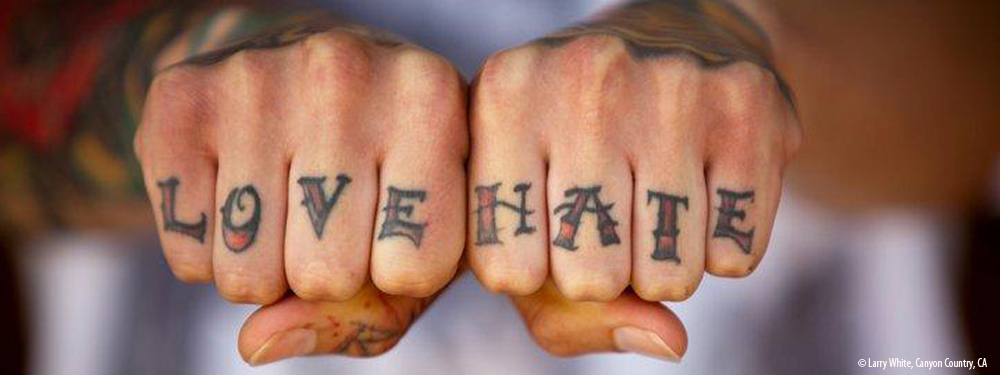 Best Love Hate Knuckle Tattoo Design