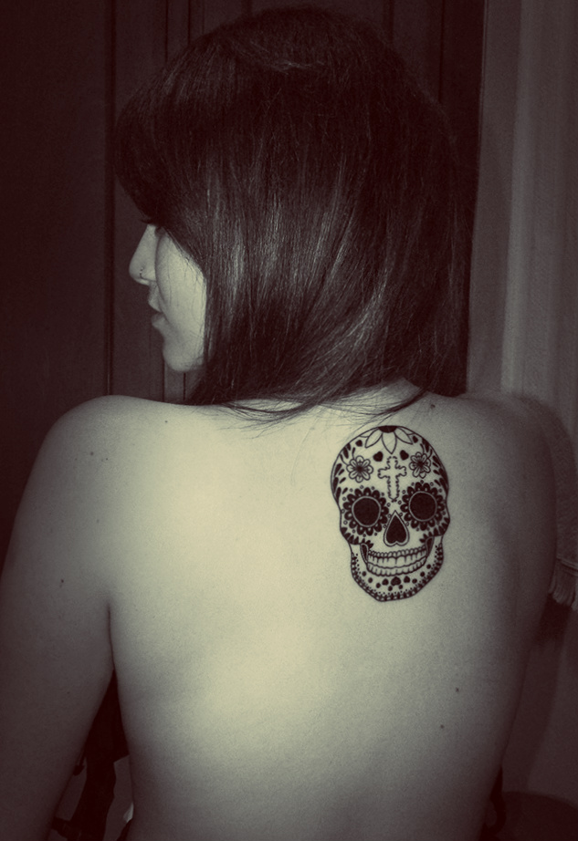 Black And White Skull Sleeve Tattoos Black And White Mexican Skull