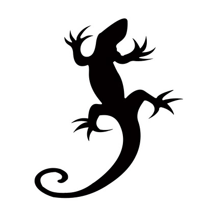 Black Ink Lizard Tattoo Stencil