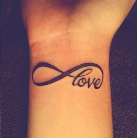 Black Ink Love Infinity Symbol Tattoo On Wrist
