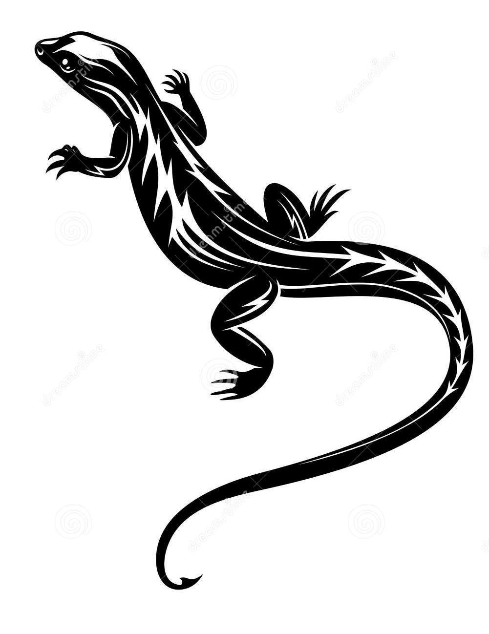 Black Lizard Reptile Tattoo Stencil