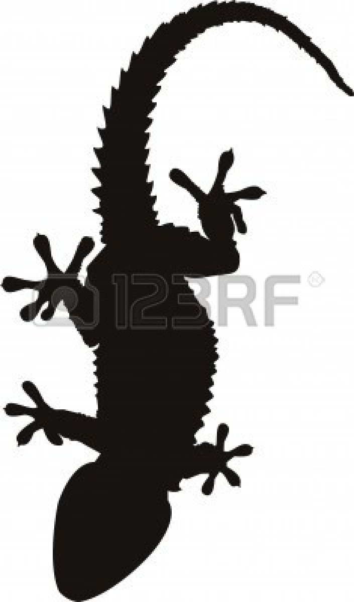 Black Lizard Tattoo Isolated On White Background
