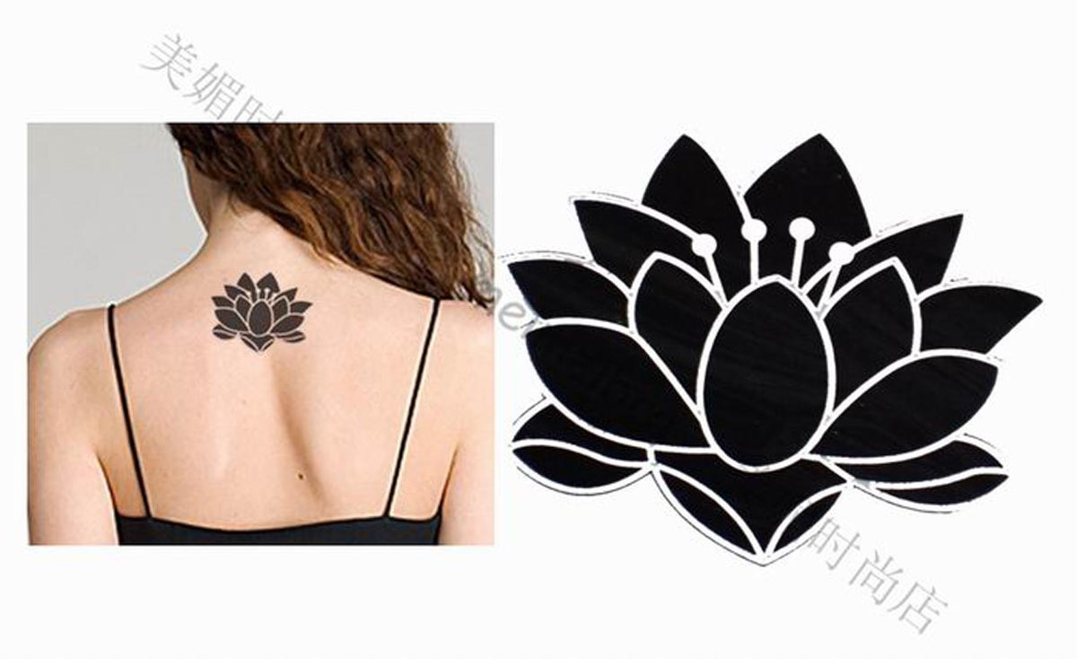 Black Lotus Tattoo On Upper Back For Women
