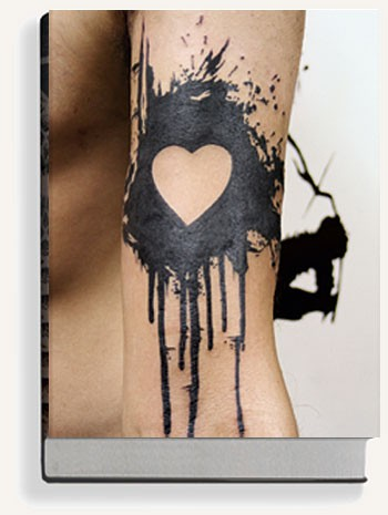 Bleeding Black Love Heart Tattoo Design