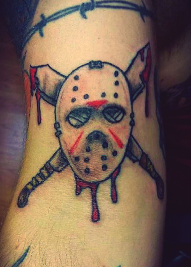Bloody Jason Mask Tattoo Design
