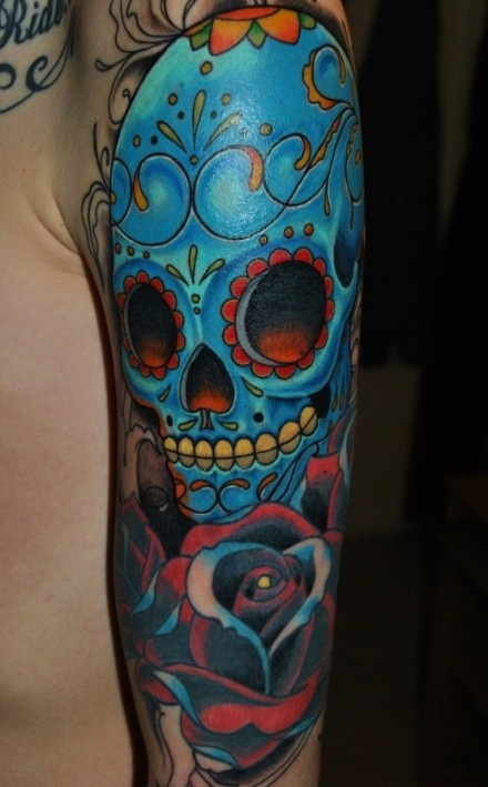 Blue Mexican Sugar Skull And Rose Sleeve Tattoo Design