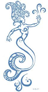 Blue Tribal Mermaid Tattoo Stencil