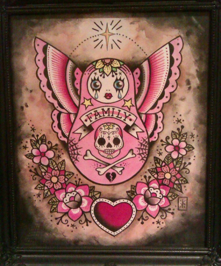 Butterfly Winged Matryoshka Tattoo Design