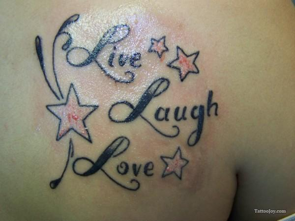Charming Live Laugh Love Tattoo With Stars