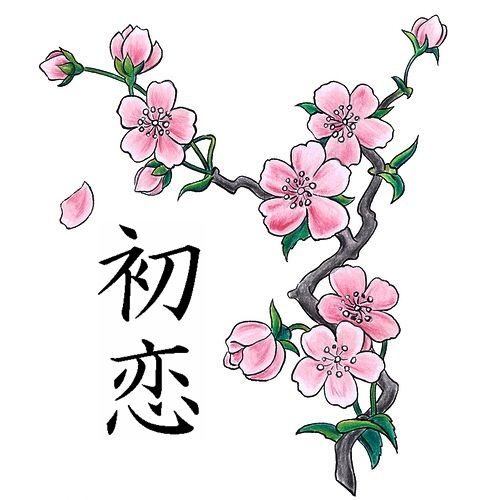 Chinese Love Symbols And Blossoms Tattoo Design