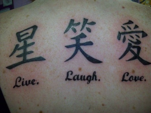 Chinese Symbols Live Laugh Love Tattoo Designs On Back