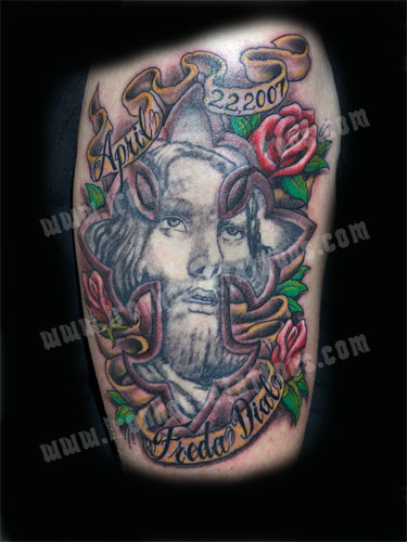 Christ Cross Memorial Tattoo Design