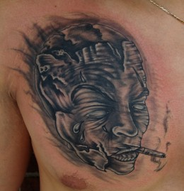 Cigar Mask Tattoo On Chest