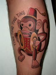 Circus Monkey Tattoo On Leg