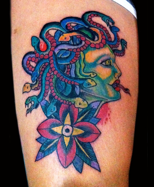 Color Ink Medusa And Flower Tattoo Design