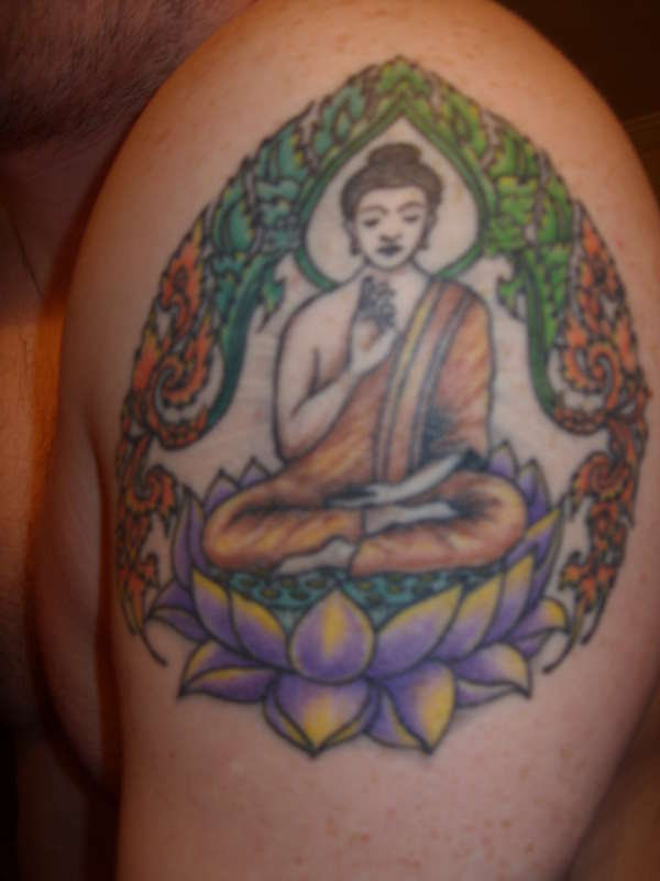 Colorful Buddha & Lotus Flower Tattoo