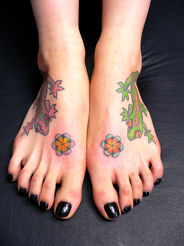 Colorful Lizard Tattoo Designs On Feet For Girls