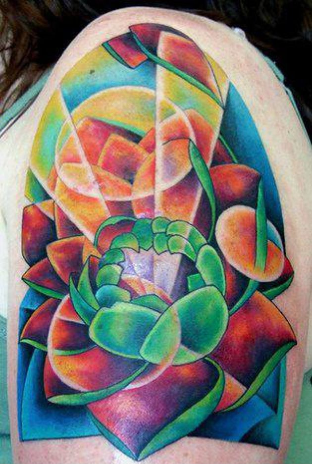Colorful Lotus Flower Tattoo On Shoulder